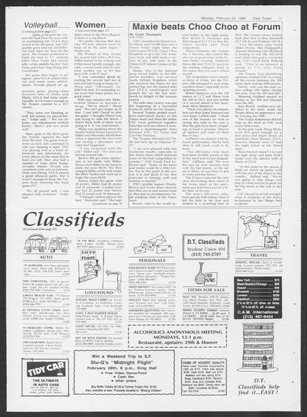 Daily Trojan, Vol. 100, No. 30, February 24, 1986