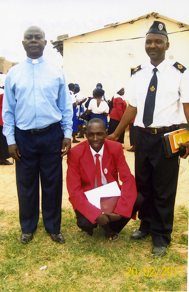 Rev Chilombo, Mr Very (Treasurer) and Mr Christopher Shapolo (Leader of the Boys Brigade and Partnership Liaison Officer)