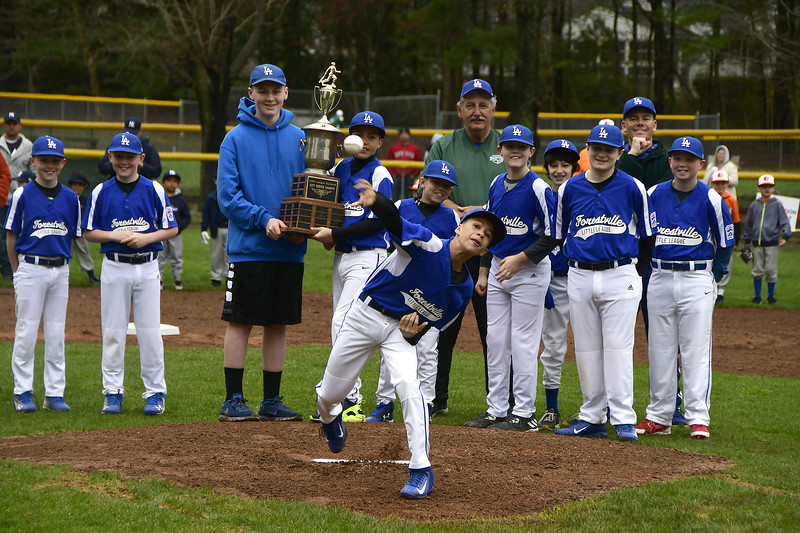 4/22/2017 Mike Orazzi   Staff Jayden Churchill throws out the first pitch on opening day at the Forestville Little in Bristol Saturday.