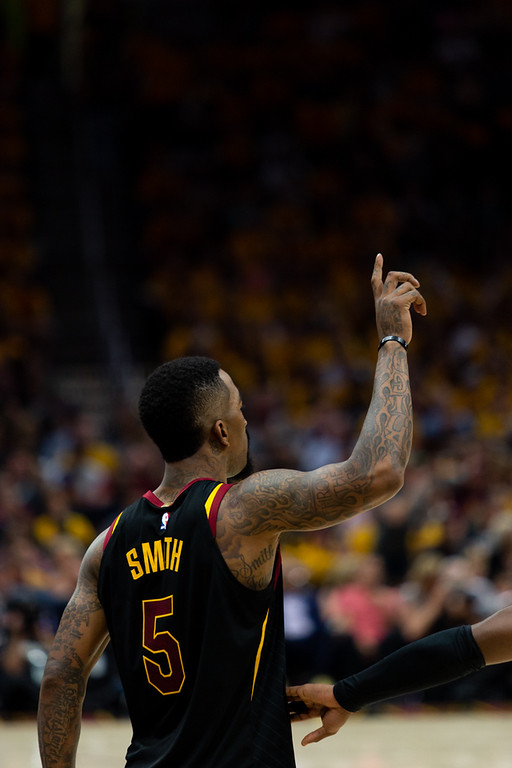 . Michael Johnson - The News-Herald J.R. Smith of the Cavaliers calls for the ball during game 3 of the Eastern Conference finals on May 19, 2018.