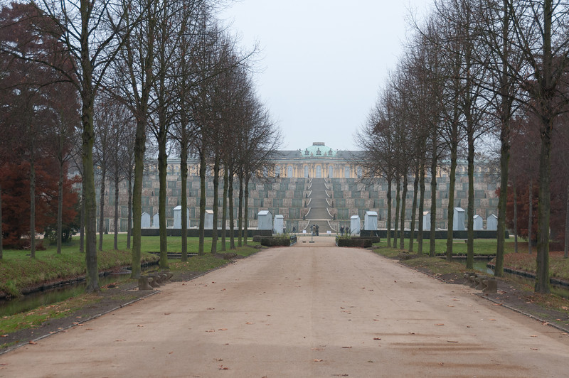 Path leading to Sanssouci Park and Palace in Potsdam, Germany
