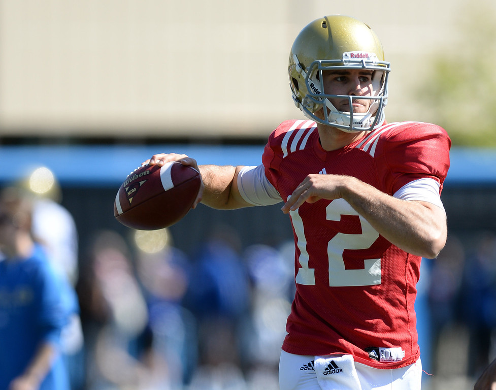 . UCLA quarterback Mike Fafaul during football practice at  Spaulding Field on the UCLA campus Saturday 5, 2014.  (Photo by Hans Gutknecht/Los Angeles Daily News)