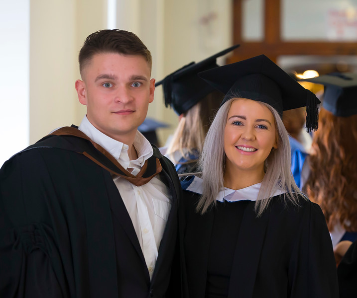03/11/2016. Waterford Institute of Technology (WIT) Conferring Ceremonies November 2016. Pictured are Rafal Radziszewski from Poland who graduated BSc (Hons) in Retail Management and Aine Watchorn, Carlow who graduated BSc in Retail Management. Picture: Patrick Browne