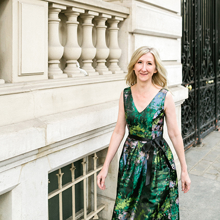 Lisa Van Hattem in Paris wearing green dress