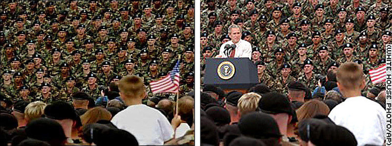. March 2004:  This political ad for George W. Bush, as he was running for President, shows a sea of soldiers as a back drop to a child holding a flag. This image was digitally doctored by copying and pasting, from this original photograph, several soldiers to digitally remove Bush from a podium. After acknowledging that the photo had been doctored, the Bush campaign said that the ad would be re-edited and re-shipped to TV stations.   SOURCE: http://www.cs.dartmouth.edu/farid/research/digitaltampering/
