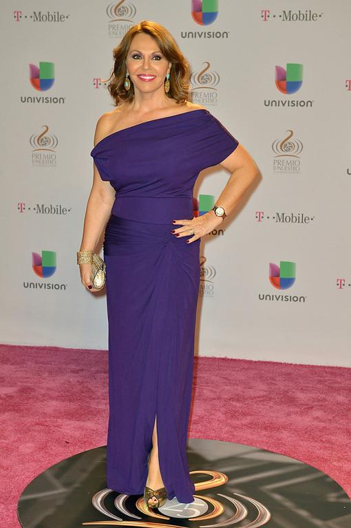 ". María Elena Salinas arrives at the 25th Anniversary of Univision\'s \""Premio Lo Nuestro A La Musica Latina\"" on February 21, 2013 in Miami, Florida.  (Photo by Gustavo Caballero/Getty Images for Univision)"