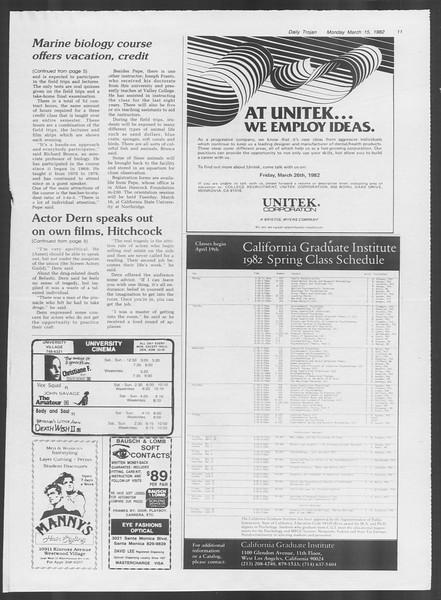 Daily Trojan, Vol. 91, No. 42, March 15, 1982