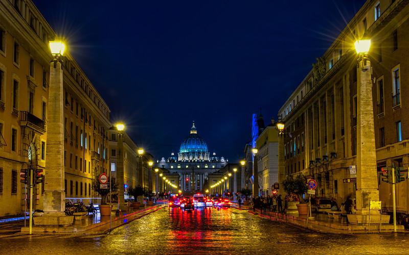 St.Peter's Basilica on a rainy night.