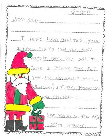 Mrs. Tolbert's 2nd grade Letters to Santa, 12/14/2015