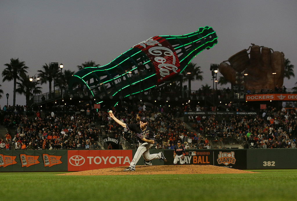 . Cleveland Indians pitcher Mike Clevinger throws against the San Francisco Giants during the fifth inning of a baseball game in San Francisco, Tuesday, July 18, 2017. (AP Photo/Jeff Chiu)