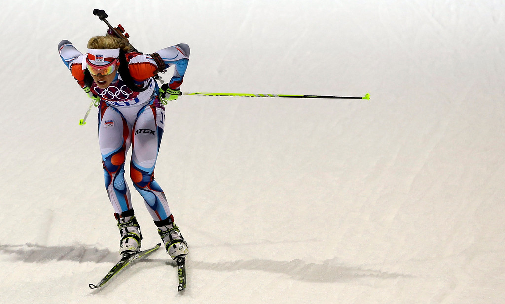 . Czech Republic\'s Gabriela Soukalova competes to win the silver medal in the women\'s biathlon 12.5k mass-start, at the 2014 Winter Olympics, Monday, Feb. 17, 2014, in Krasnaya Polyana, Russia. (AP Photo/Kirsty Wigglesworth)