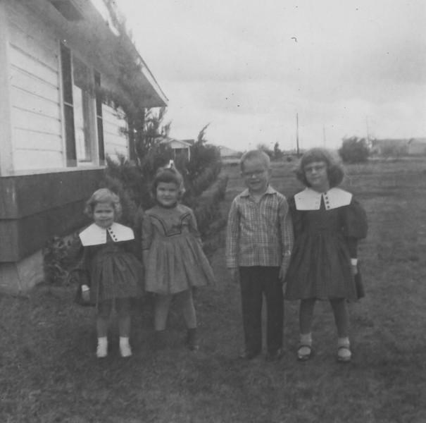 Jeanne , Pat, Jim, Jan January 1958  2132 Pech Rd. Spring Branch