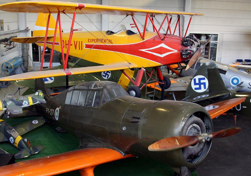 Finnish aviation museum - VL Viima II (yellow plane), VL Pyry II (green plane foreground).