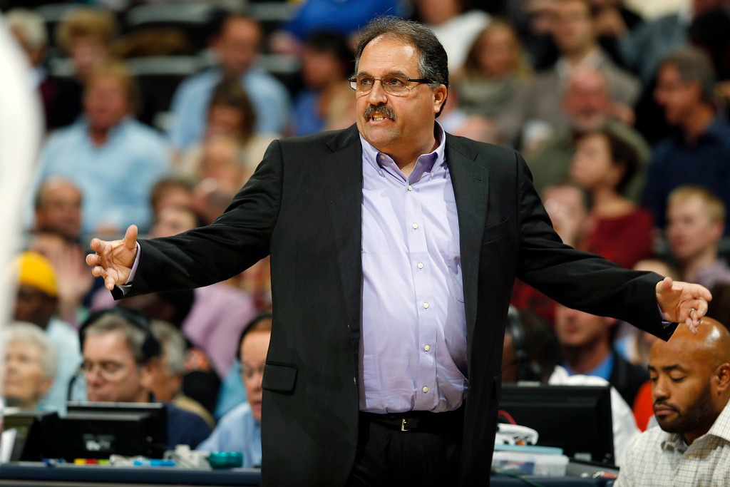 . Detroit Pistons head coach Stan Van Gundy directs his team against the Denver Nuggets in the first quarter of an NBA basketball game in Denver on Wednesday, Oct. 29, 2014. (AP Photo/David Zalubowski)