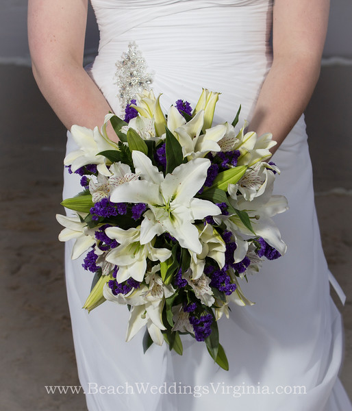 white lilies, purple flowers, white peruvian lilies. Cascading style