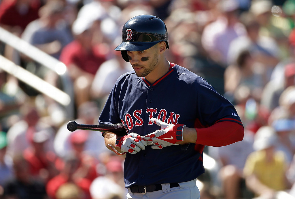 . Boston Red Sox\'s Grady Sizemore walks away from the batters box after striking out in the third inning of an exhibition baseball game against the Minnesota Twins, Saturday, March 1, 2014, in Fort Myers, Fla. (AP Photo/Steven Senne)