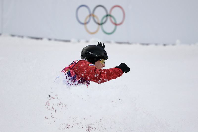 . Russia\'s Assoil Slivets lands from a jump during the women\'s freestyle skiing aerials qualifying at the Rosa Khutor Extreme Park, at the 2014 Winter Olympics, Friday, Feb. 14, 2014, in Krasnaya Polyana, Russia. (AP Photo/Jae C. Hong)
