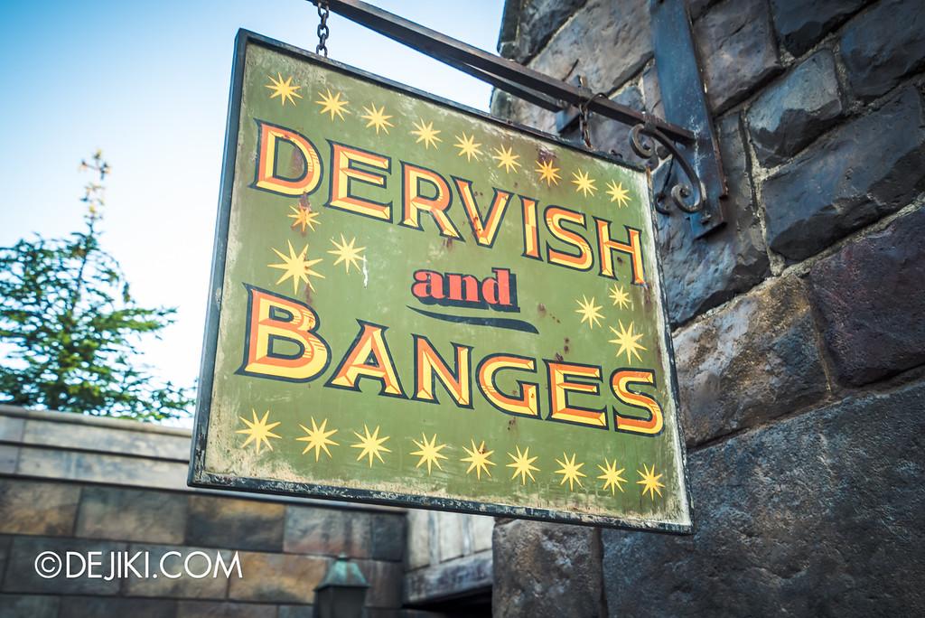 Universal Studios Japan - The Wizarding World of Harry Potter - Hogsmeade Dervish & Banges sign