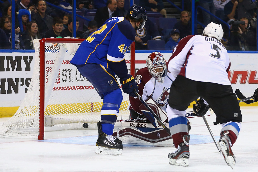 . ST. LOUIS, MO - NOVEMBER 14:  Jean-Sebastien Giguere #35 of the Colorado Avalanche allows a goal against the St. Louis Blues at the Scottrade Center on November 14, 2013 in St. Louis, Missouri.  (Photo by Dilip Vishwanat/Getty Images)