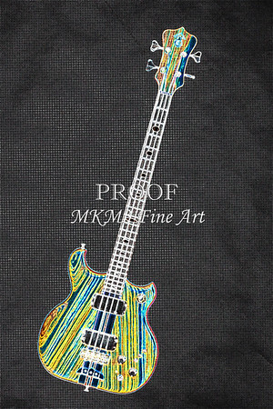 Alembic Bass Guitar Image Dark Drawing Fine Art Print