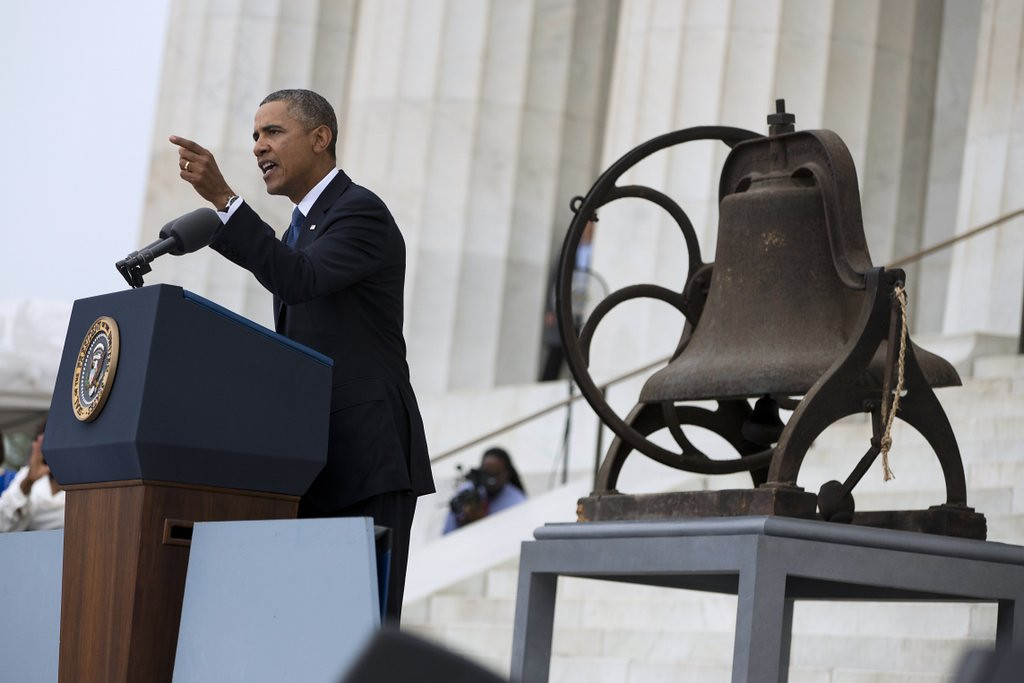 ". <p><b> Tens of thousands gathered at the Lincoln Memorial in Washington last Wednesday to mark the 50-year anniversary of � </b> <p> A. Martin Luther King�s March on Washington  <p> B. Passage of the Civil Rights Act of 1964  <p> C. Santa Claus bringing President Obama his first teleprompter  <p><b><a href=\'http://www.nydailynews.com/news/national/obama-cites-unfinished-business-march-washington-commemoration-speech-article-1.1439666\' target=""_blank\"">HUH?</a></b> <p>    (AP Photo/Evan Vucci)"