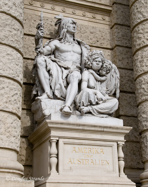 Depiction of Americans and Australians outside the Museum of Natural History, Vienna
