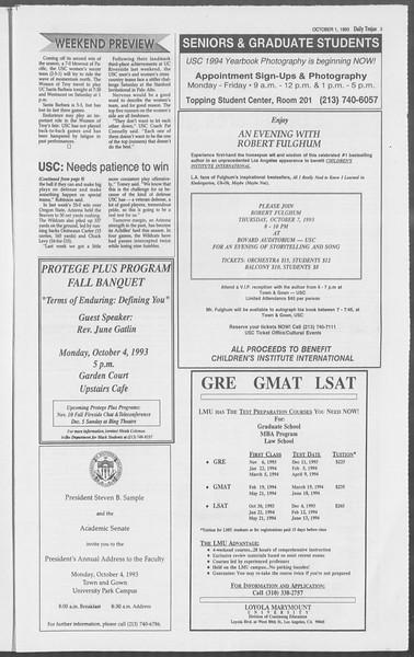 Daily Trojan, Vol. 121, No. 23, October 01, 1993