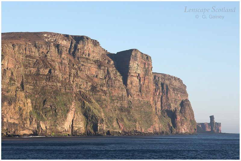 St John's Head and Old Man of Hoy, from the sea