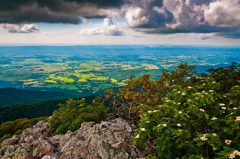 View of Shenandoah Valley and Storm Clouds from Stony Man Mountain Shenandoah National Park, Virginia
