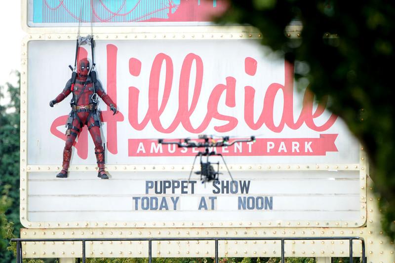 Ryan Reynolds' Character Deadpool Gets Stuck On A Billboard!