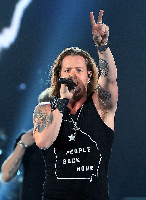 . Singer Tyler Hubbard of Florida Georgia Line performs onstage during ACM Presents: An All-Star Salute To The Troops at the MGM Grand Garden Arena on April 7, 2014 in Las Vegas, Nevada.  (Photo by Ethan Miller/Getty Images for ACM)