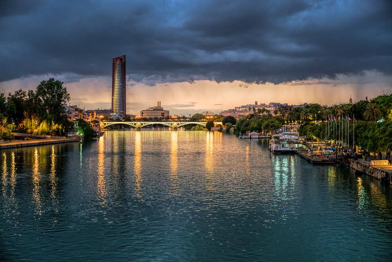 Guadalquivir river from San Telmo bridge, Seville, Spain