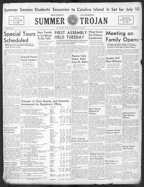Summer Trojan, Vol. 16, No. 2, June 25, 1937