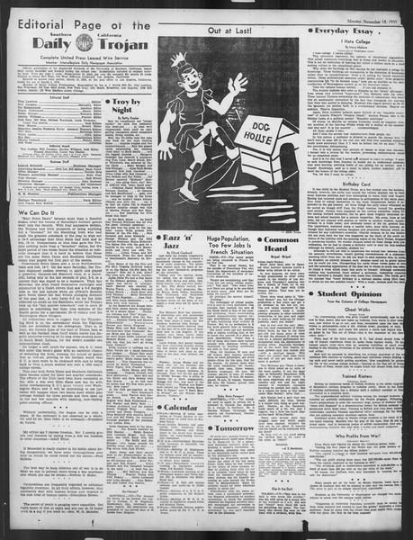 Daily Trojan, Vol. 27, No. 40, November 18, 1935