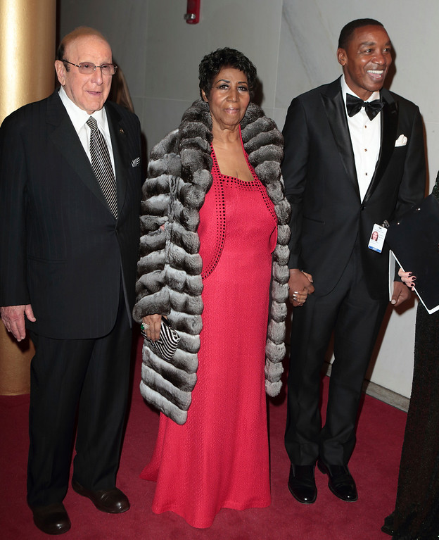 . Clive Davis, left and Aretha Franklin attend the 39th Annual Kennedy Center Honors at The John F. Kennedy Center for the Performing Arts on Sunday, Dec. 4, 2016, in Washington, D.C. (Photo by Owen Sweeney/Invision/AP)