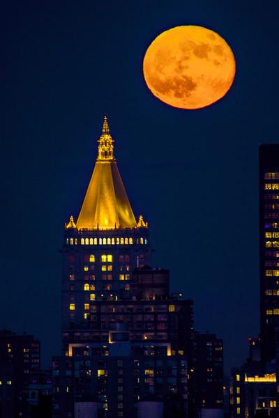 NYC Strawberry Moonrise and NY Life Tower