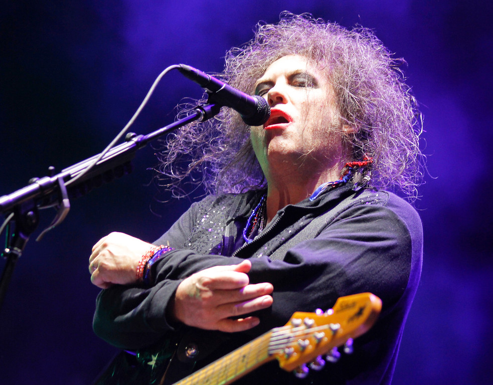 . The Cure\'s Robert Smith performs on Day 2 of the 2013 Austin City Limits Music Festival at Zilker Park on Saturday, Oct. 5, 2013 in Austin, Texas. (Photo by Jack Plunkett/Invision/AP)