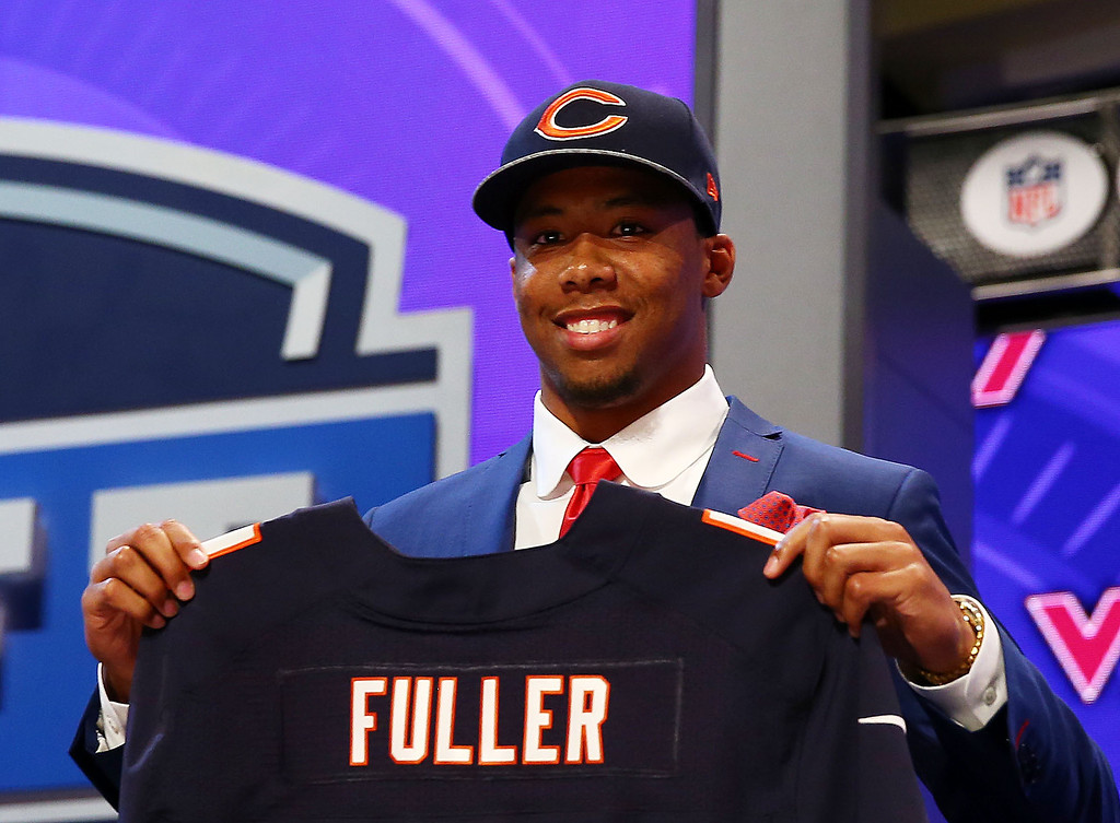 . Kyle Fuller of the Virginia Tech Hokies poses with a jersey after he was picked #14 overall by the Chicago Bears during the first round of the 2014 NFL Draft at Radio City Music Hall on May 8, 2014 in New York City.  (Photo by Elsa/Getty Images)