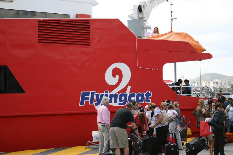 HSC FLYINGCAT 2 embarking in Piraeus.