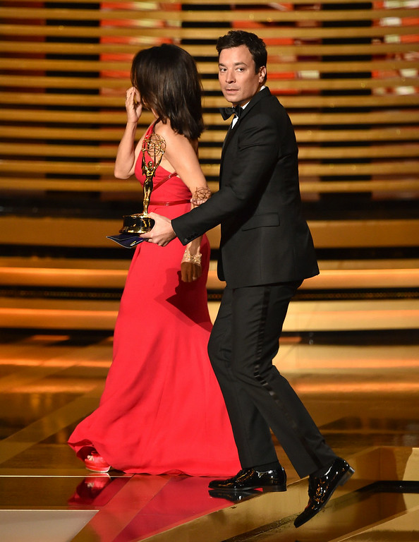 . Actress Julia Louis-Dreyfus (L) accepts Outstanding Lead Actress in a Comedy Series for \'Veep\' from TV personality Jimmy Fallon onstage at the 66th Annual Primetime Emmy Awards held at Nokia Theatre L.A. Live on August 25, 2014 in Los Angeles, California.  (Photo by Kevin Winter/Getty Images)