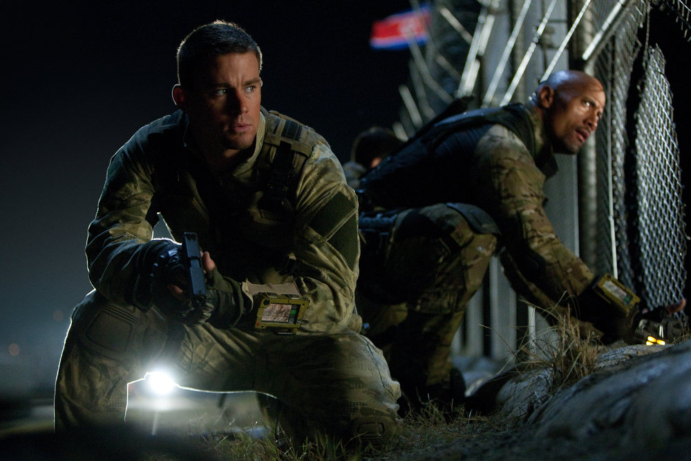 Description of . Left to right: Channing Tatum plays Duke and Dwayne Johnson plays Roadblock in G.I. JOE: RETALIATION, from Paramount Pictures, MGM, and Skydance Productions. (Jaimie Trueblood/Paramount Pictures)