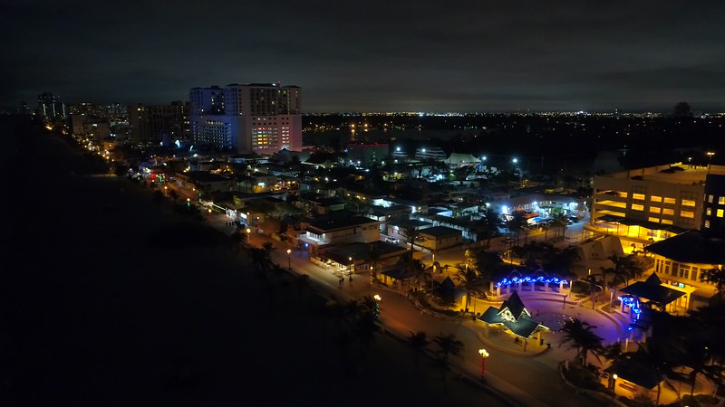 Aerial night tour hollywood Beach boarwalk 4k 24p
