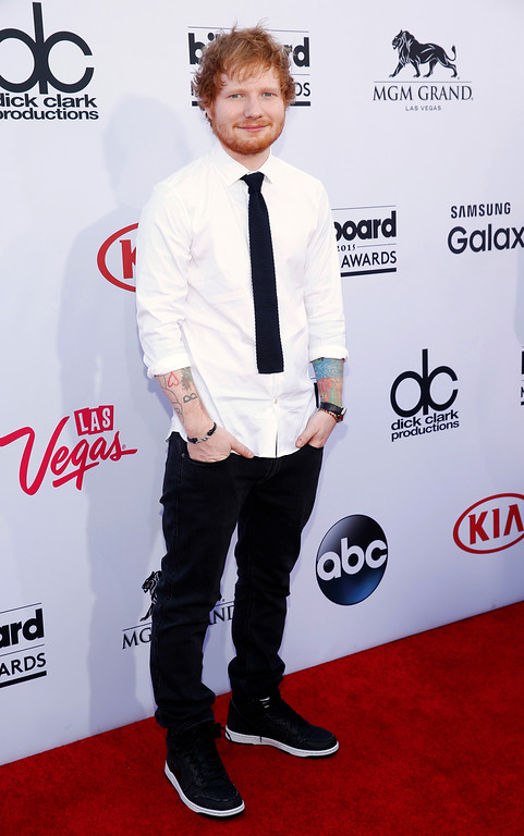 . Ed Sheeran arrives at the Billboard Music Awards at the MGM Grand Garden Arena on Sunday, May 17, 2015, in Las Vegas. (Photo by Eric Jamison/Invision/AP)