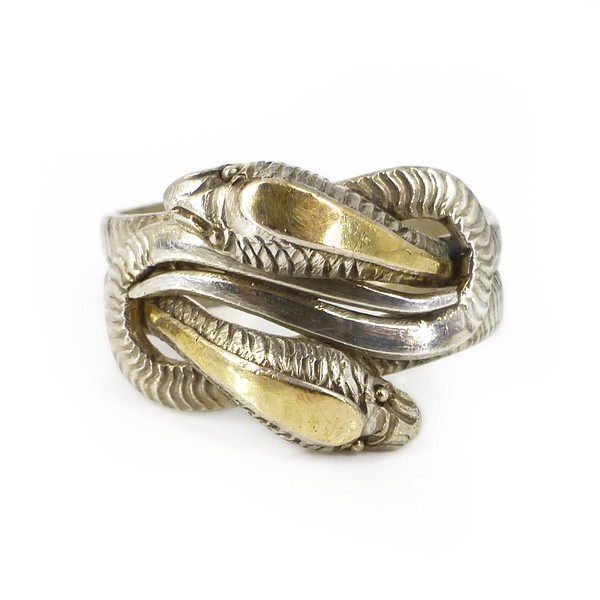 Vintage Silver & Gold Entwined Serpent Snake Deco Style Ring