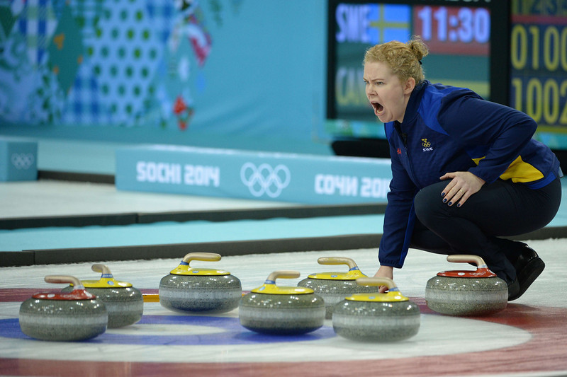 . Sweden\'s Margaretha Sigfridsson shouts during the Women\'s Curling Gold Medal Game Sweden vs Canada at the Ice Cube Curling Center during the Sochi Winter Olympics on February 20, 2014.  JUNG YEON-JE/AFP/Getty Images