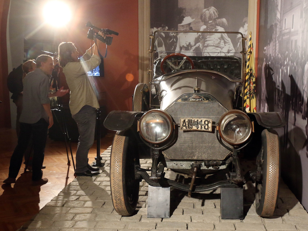 . The car in which Austrian Archduke Franz Ferdinand and his wife Sophie were shot to death is on display at the Museum of Military History in Vienna, Austria, on Friday, June 27, 2014. Archduke Franz Ferdinand and his wife Sophie were assassinated in Sarajevo on June 28, 1914, an event which led to the outbreak of World War I. (AP Photo/Ronald Zak)