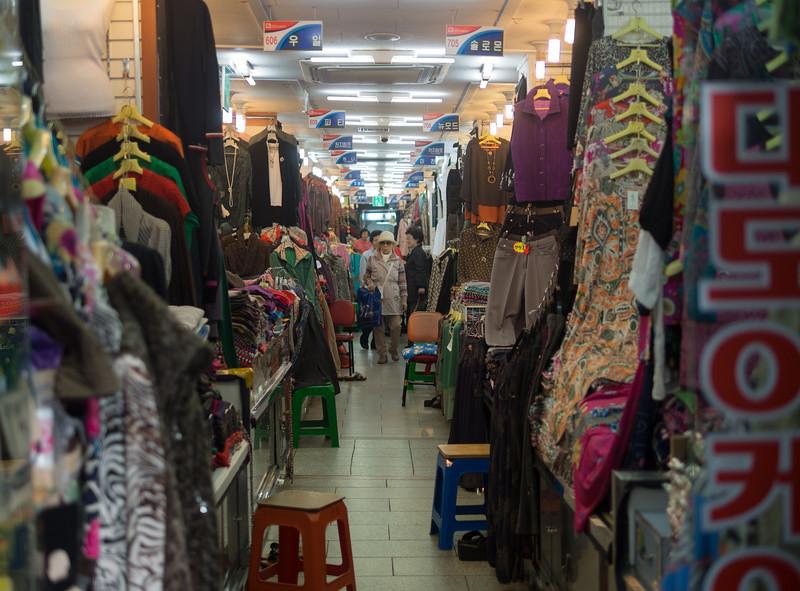 Textile shopping at Namdaemun market.