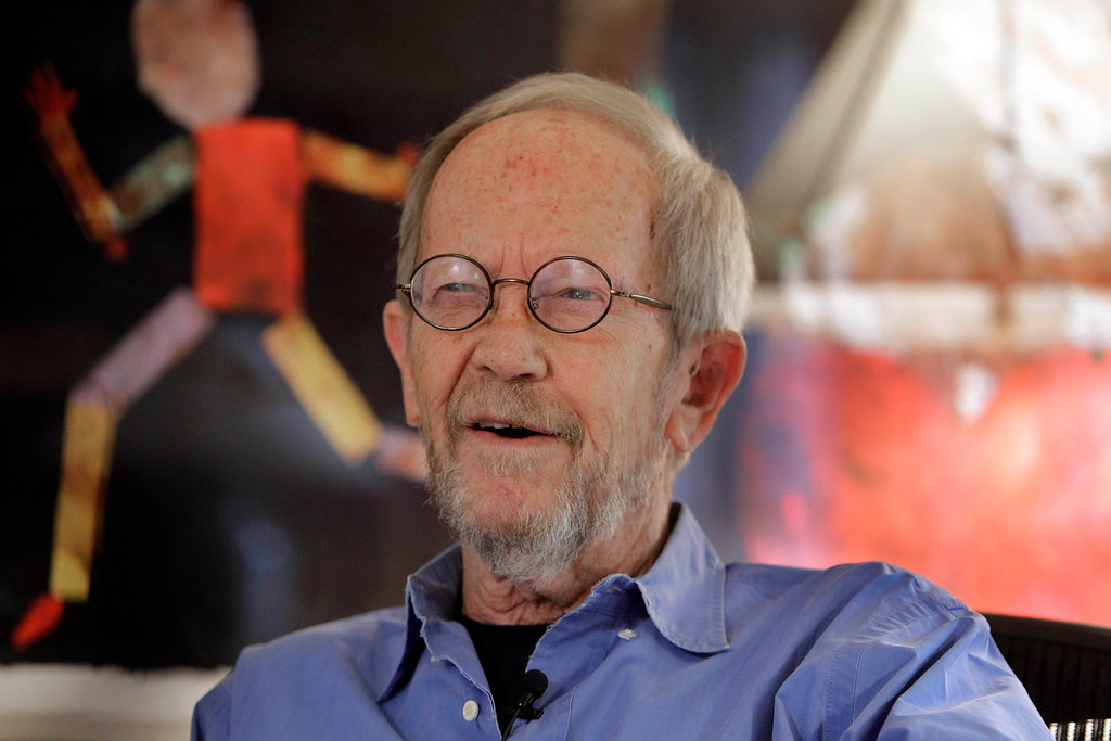 . In this Sept. 28, 2010 photo, author Elmore Leonard is interviewed at his home in Bloomfield Township, Mich. Court records show Leonard is divorcing his wife of 18 years. The Detroit News reports Thursday, Oct. 20, 2011 that he and Christine Leonard split earlier this year and she filed for divorce in May. Oakland County Circuit Court records say Christine cited a breakdown in the marriage for unspecified reasons. (AP Photo/Carlos Osorio, FILE)