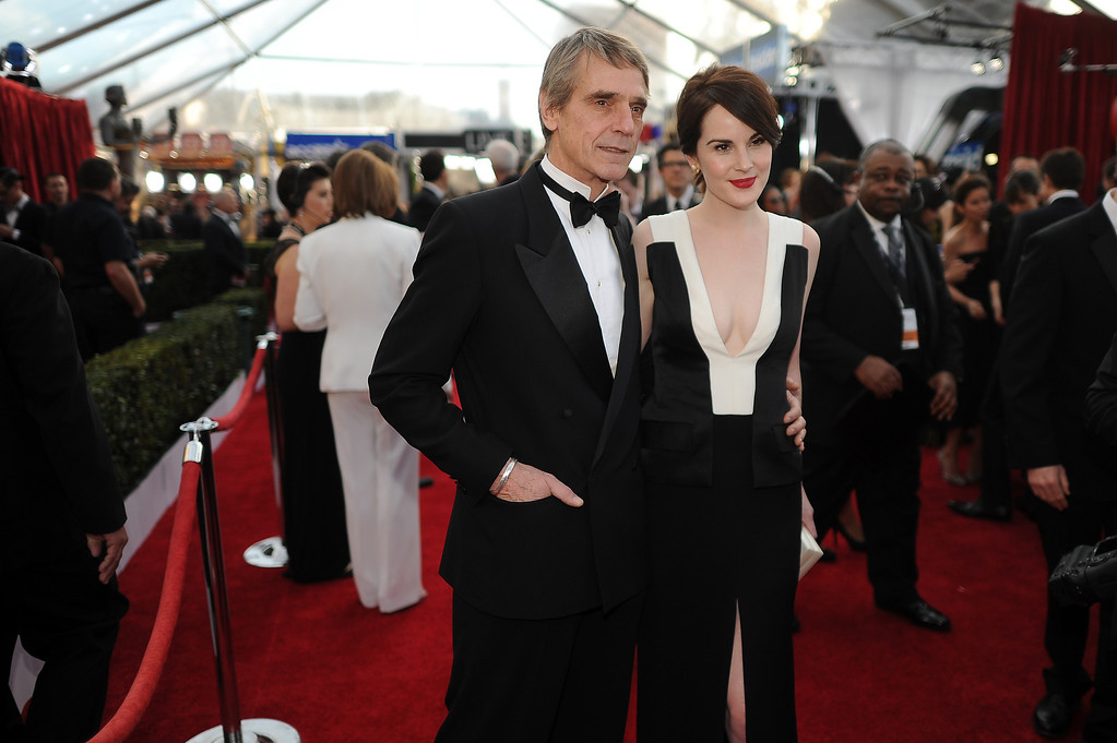 . Jeremy Irons and Michelle Dockery on the red carpet at the 20th Annual Screen Actors Guild Awards  at the Shrine Auditorium in Los Angeles, California on Saturday January 18, 2014 (Photo by Hans Gutknecht / Los Angeles Daily News)