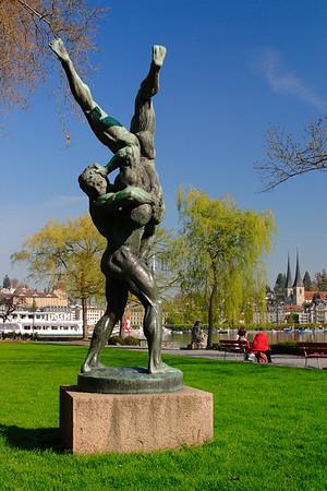 Statue in a park in Lucerne, Switzerland. © 2005 Kenneth R. Sheide